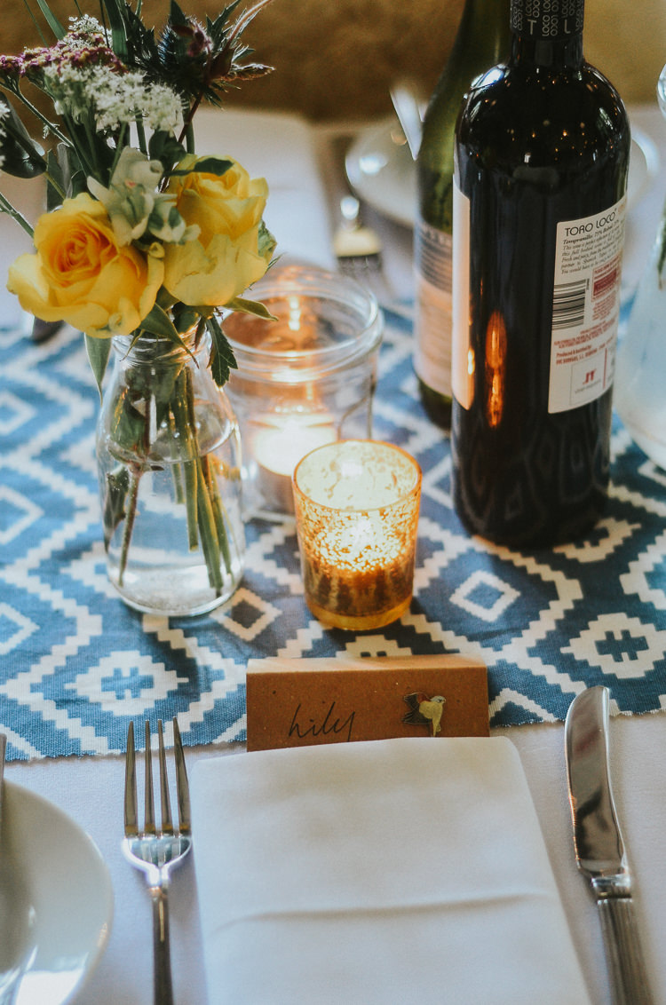 Candles Place Setting Name Tag Indie Mismatched Colourful Wedding http://foxandowl.uk/