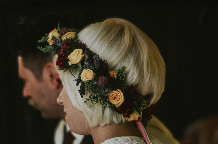 Flower Crown Bride Short Hair Indie Mismatched Colourful Wedding http://foxandowl.uk/