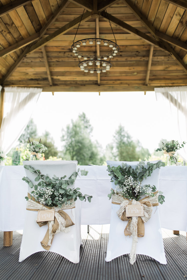 Chairs Bride Groom Foliage Greenery Hessian Lace Decor Bohemian Vineyard Wedding http://www.gemmagiorgio.com/