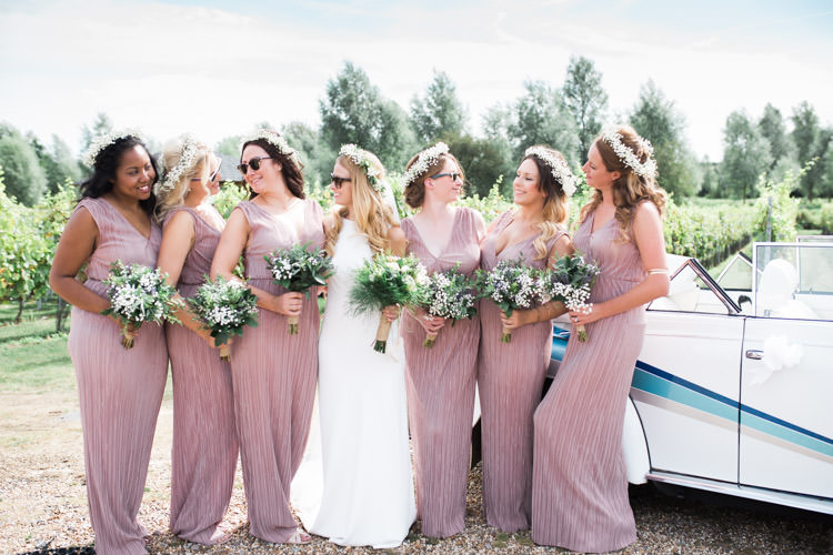 Long Pink Bridesmaids Flower Crowns Sunglassses Bohemian Vineyard Wedding http://www.gemmagiorgio.com/