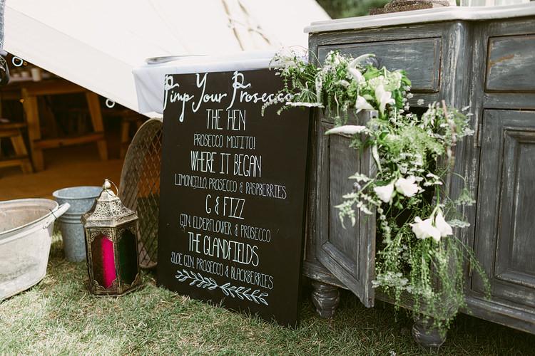 Prosecco Bar Pimp Station Drinks Flowers Sign Bohemian Outdoor Blessing Garden Wedding http://www.lukehayden.co.uk/