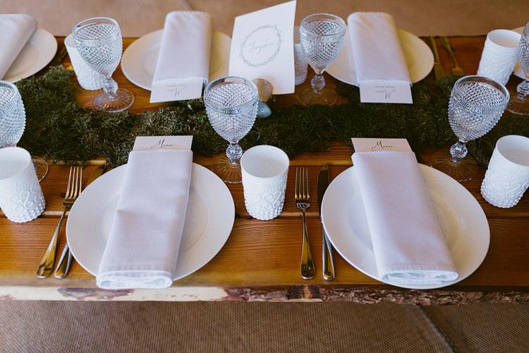 Moss Table Centrepiece Runner Green White Linen Stationery Glasswear Bohemian Outdoor Blessing Garden Wedding http://www.lukehayden.co.uk/