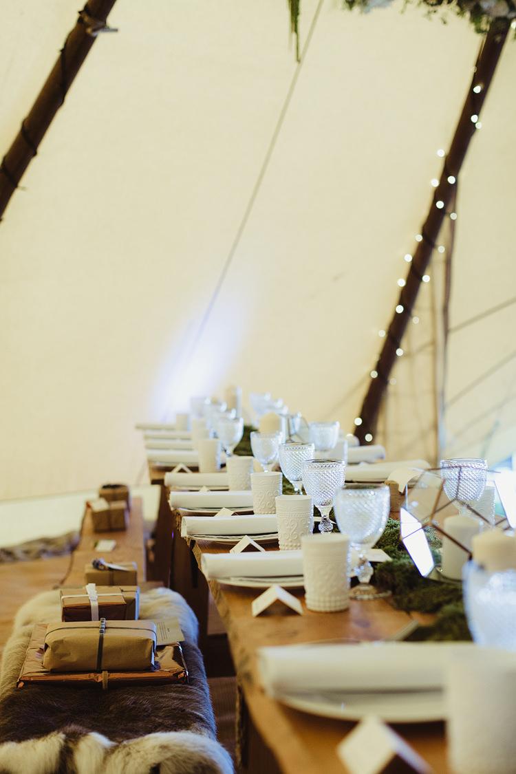 Glasswear White Linen Tables Decor Tipi Bohemian Outdoor Blessing Garden Wedding http://www.lukehayden.co.uk/