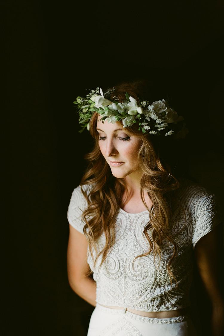 Flower Crown Bride Bridal Greenery Foliage Long Hair Waves Bohemian Outdoor Blessing Garden Wedding http://www.lukehayden.co.uk/