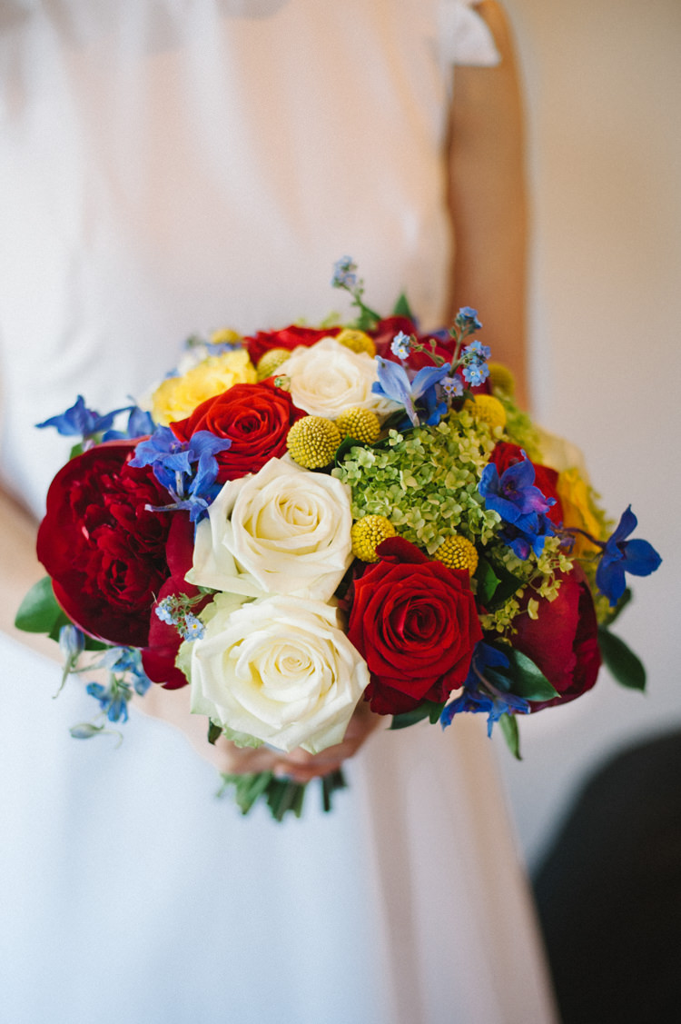 Bouquet Flowers Bride Bridal Red Yellow Blue Roses Artistic Creative Colourful Farm Wedding http://www.mustardyellowphotography.com/
