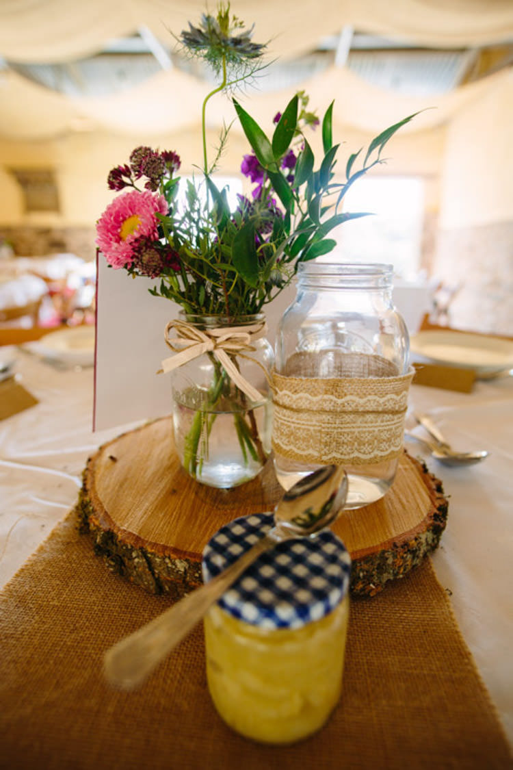 Jar Flowers Lace Hessian Centrepiece Mismatched Berry DIY Wedding http://www.colinianross.com/
