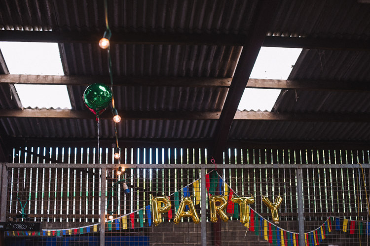 Balloons Bunting Artistic Creative Colourful Farm Wedding http://www.mustardyellowphotography.com/
