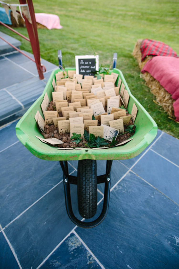 Wheelbarrow Seed Favours Mismatched Berry DIY Wedding http://www.colinianross.com/