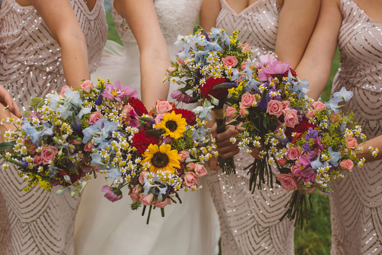 Bouquets Flowers Bride Bridal Bridesmaids Colourful Home Made Garden Wedding http://www.maytreephotography.co.uk/