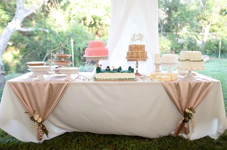 Reception Dessert Table Wedding Cake Sweets Pies Blush Fabric Fresh Florals Gold & Peach Riverside Garden Wedding http://kellyhornberger.com/