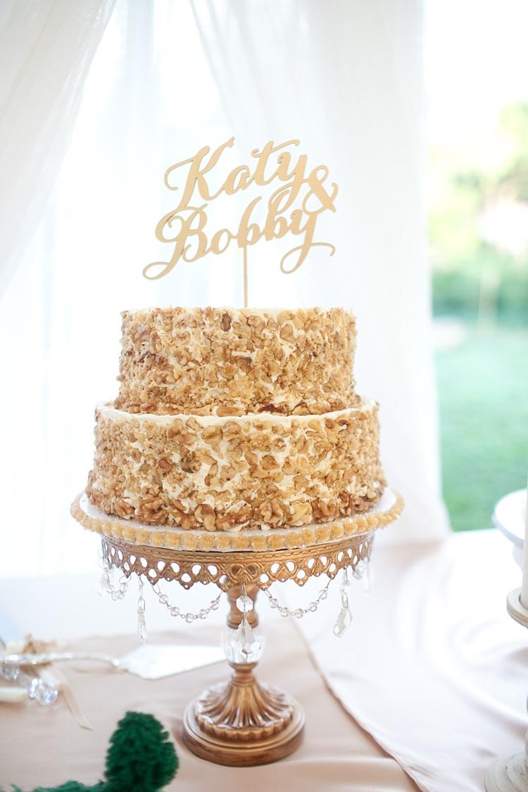 Wedding Cake Gold Bead Cake Stand Gold Name Topper Dessert Table Gold & Peach Riverside Garden Wedding http://kellyhornberger.com/