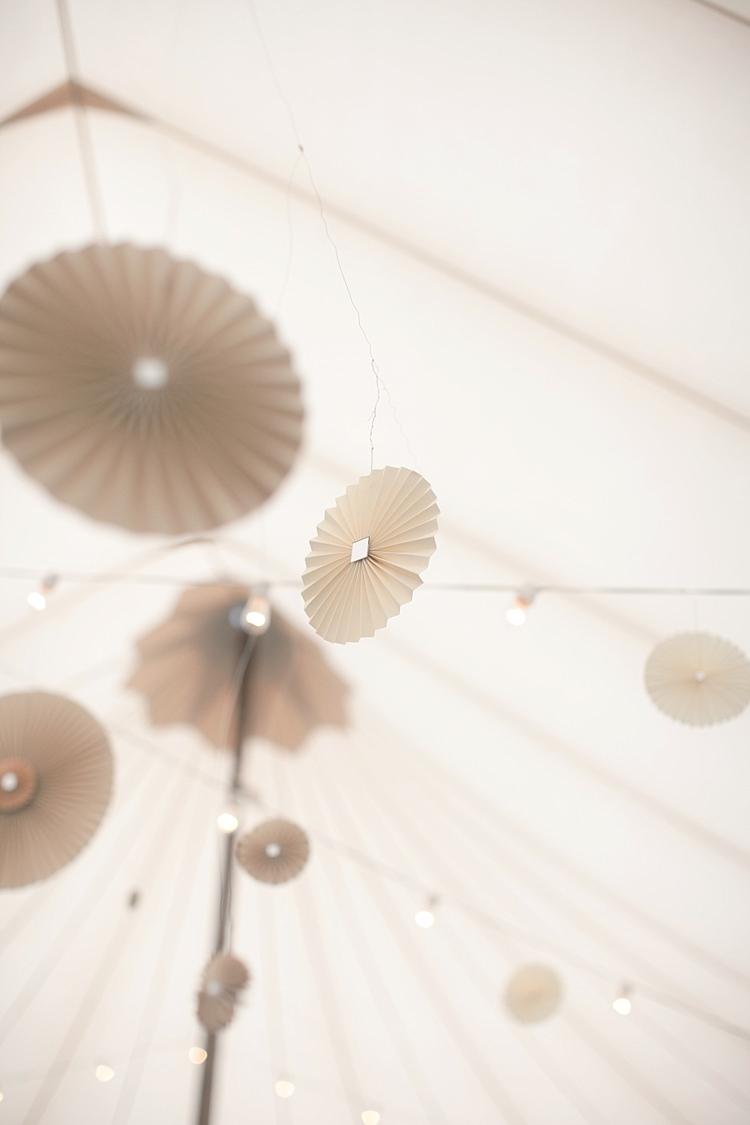 Reception Marquee Hanging Décor Lanterns Fairy Lights Gold & Peach Riverside Garden Wedding http://kellyhornberger.com/
