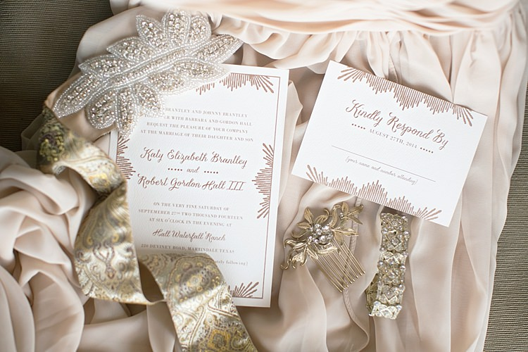 Wedding Stationery Blush Invitation RSVP Card Vintage Hair Comb Gold Ribbon Beads Soft Fabric Gold & Peach Riverside Garden Wedding http://kellyhornberger.com/