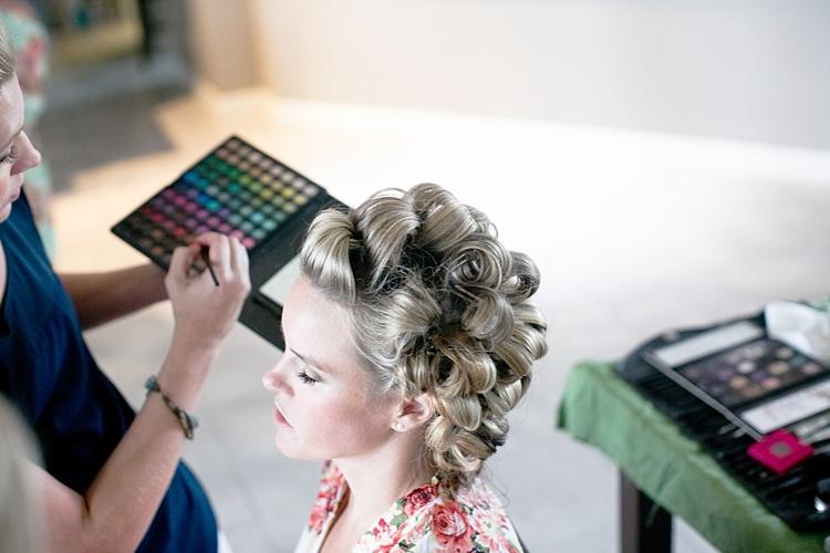 Bride Makeup Artist Palette Curly Hairstyle Gold & Peach Riverside Garden Wedding http://kellyhornberger.com/