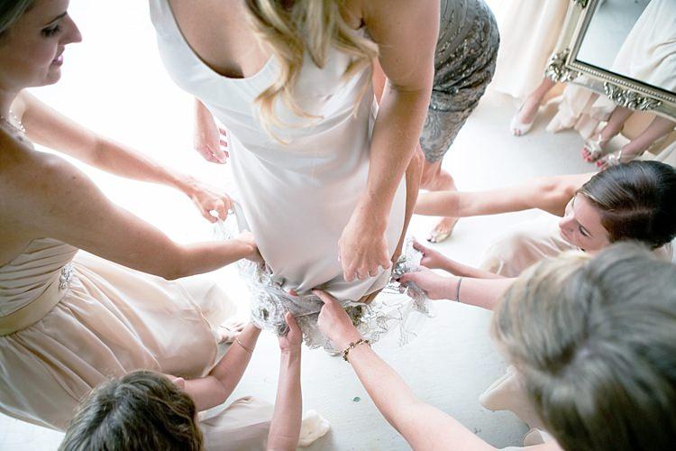 Bride Dress Bridesmaids Cream Sweetheart Dresses Ceremony Preparation Gold & Peach Riverside Garden Wedding http://kellyhornberger.com/