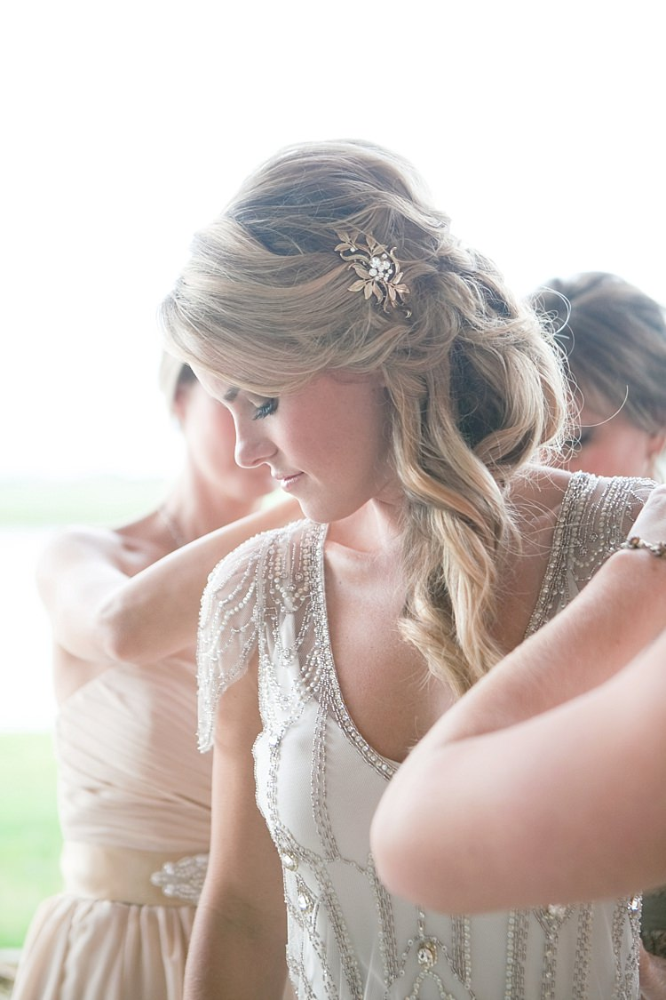 Bride Beaded Jenny Packham Bridal Gown Loose Curls Hairstyle Gold Hair Comb Bridesmaids Gold & Peach Riverside Garden Wedding http://kellyhornberger.com/
