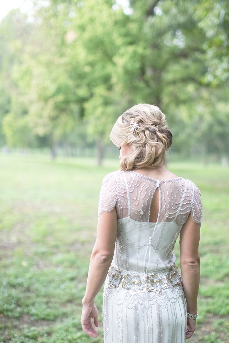 Bride Beaded Jenny Packham Bridal Gown Loose Curls Hairstyle Gold Hair Comb Gold & Peach Riverside Garden Wedding http://kellyhornberger.com/