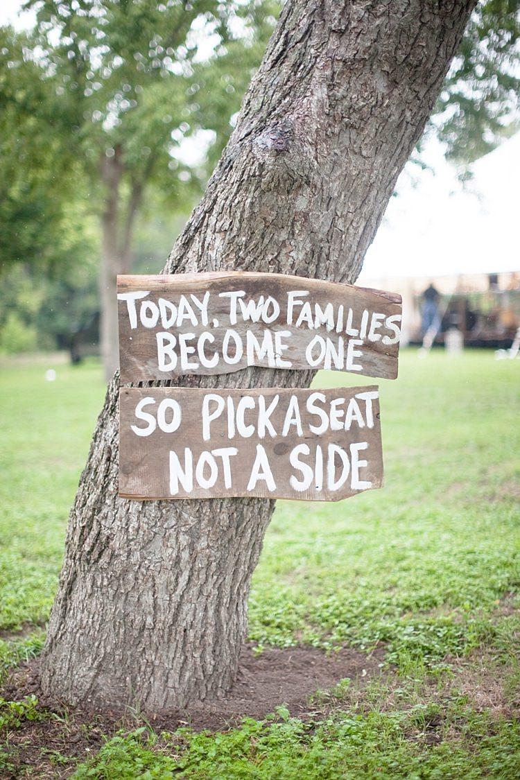 Outdoor Ceremony Tree Wooden Handpainted Sign White Gold & Peach Riverside Garden Wedding http://kellyhornberger.com/