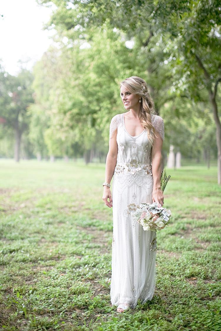 Bride Beaded Jenny Packham Bridal Gown Cream Peach Bouquet Gold & Peach Riverside Garden Wedding http://kellyhornberger.com/
