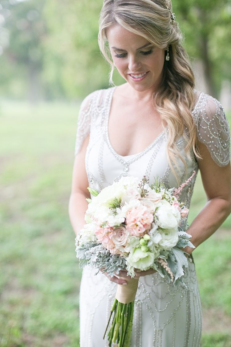 Bride Beaded Jenny Packham Bridal Gown Cream Peach Bouquet Roses Peonies Long Ribbon Loose Curls Gold Hair Comb Drop Earrings Gold & Peach Riverside Garden Wedding http://kellyhornberger.com/