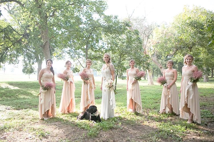 Bride Beaded Jenny Packham Bridal Gown Cream Peach Bouquet Bridesmaids Cream Sweetheart Dresses Dog Floral Collar Gold & Peach Riverside Garden Wedding http://kellyhornberger.com/