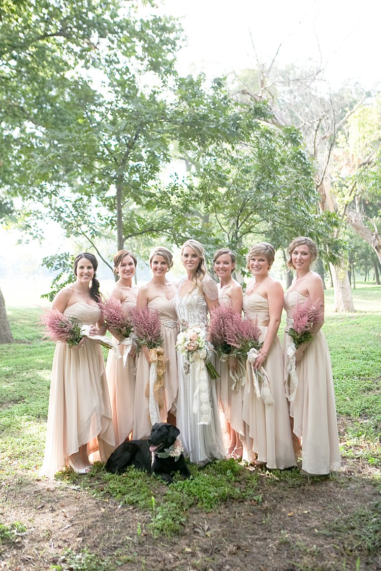Bride Beaded Jenny Packham Bridal Gown Cream Peach Bouquet Long Ribbon Bridesmaids Cream Sweetheart Dresses Pink Bouquets Dog Floral Collar Gold & Peach Riverside Garden Wedding http://kellyhornberger.com/