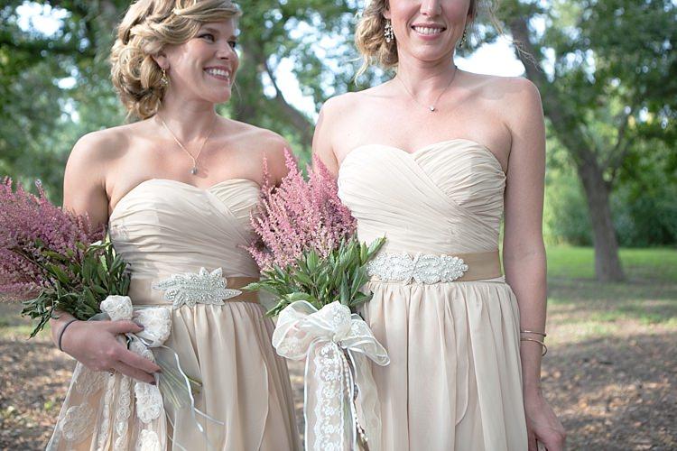 Bridesmaids Cream Sweetheart Dresses Embellished Sashes Pink Bouquet Long Ribbons Gold & Peach Riverside Garden Wedding http://kellyhornberger.com/