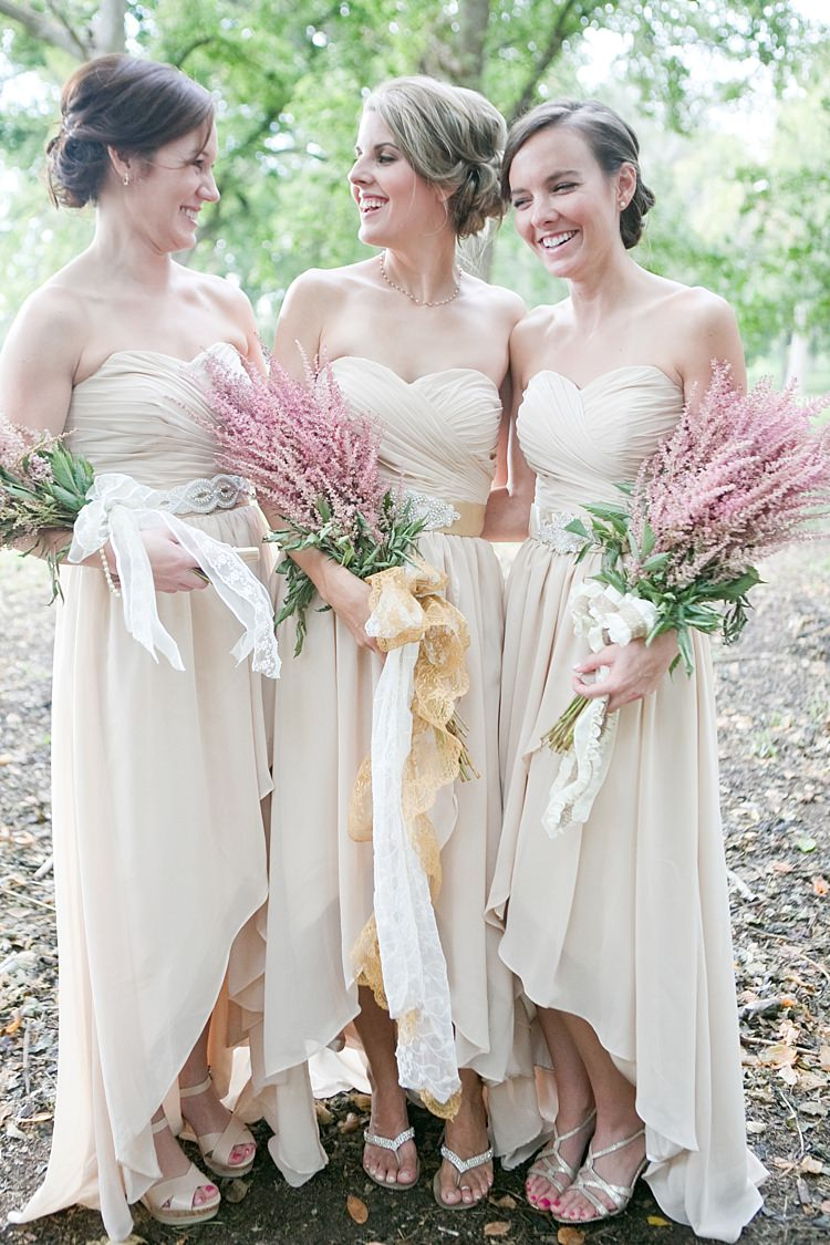 Bridesmaids Cream Sweetheart Dresses Embellished Sashes Pink Bouquet White Gold Ribbons Gold & Peach Riverside Garden Wedding http://kellyhornberger.com/