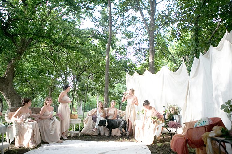 Bride Beaded Jenny Packham Bridal Gown Bridesmaids Cream Sweetheart Dresses Dog Floral Collar Private Tent Vintage Couches Gold & Peach Riverside Garden Wedding http://kellyhornberger.com/