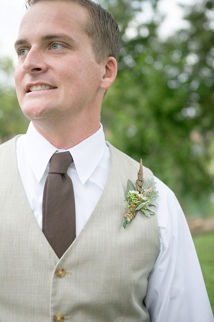 Groom Khaki Vest Brown Tie Floral Buttonhole Gold & Peach Riverside Garden Wedding http://kellyhornberger.com/