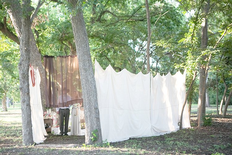 Bride Father of the Bride Waiting Private Tent Ceremony Entrance Sheer Curtain Gold & Peach Riverside Garden Wedding http://kellyhornberger.com/