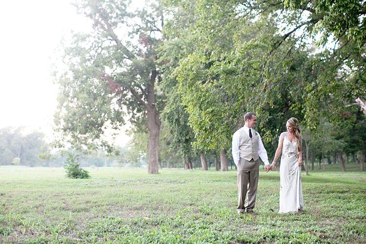 Bride Beaded Jenny Packham Bridal Gown Loose Curls Groom Khaki Pants Vest Trees Gold & Peach Riverside Garden Wedding http://kellyhornberger.com/
