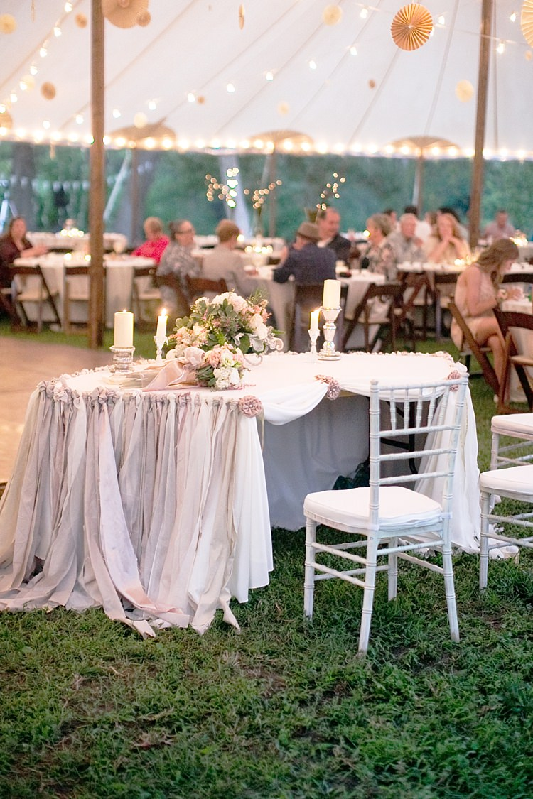 Reception Marquee Bride Groom Table Ribbon Decoration Blush Grey Cream Floral Bouquet Candlesticks Guests Hanging Décor Lanterns Fairy Lights Gold & Peach Riverside Garden Wedding http://kellyhornberger.com/
