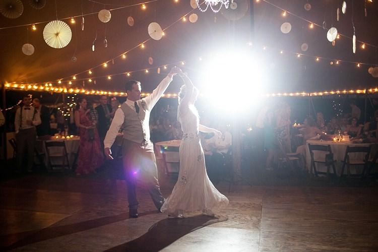 Bride Beaded Jenny Packham Bridal Gown Groom Khaki Pants Vest Brown Tie Dance Floor Hanging Décor Lanterns Fairy Lights Guests Gold & Peach Riverside Garden Wedding http://kellyhornberger.com/