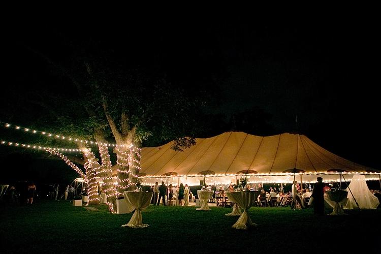 Reception Marquee White Tables Trees Hanging Fairy Lights Gold & Peach Riverside Garden Wedding http://kellyhornberger.com/