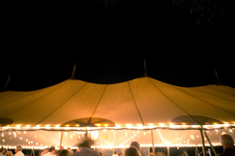 Reception Marquee Hanging Fairy Lights Gold & Peach Riverside Garden Wedding http://kellyhornberger.com/