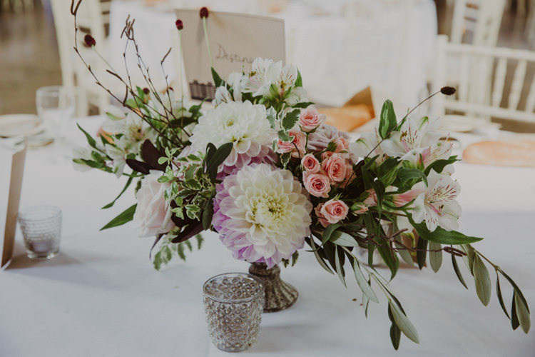 Organic Natural Whimsical Flowers Centrepiece Dahlia Rose Foliage Romantic Stylish Relaxed Sea Wedding http://www.oxiphotography.co.uk/