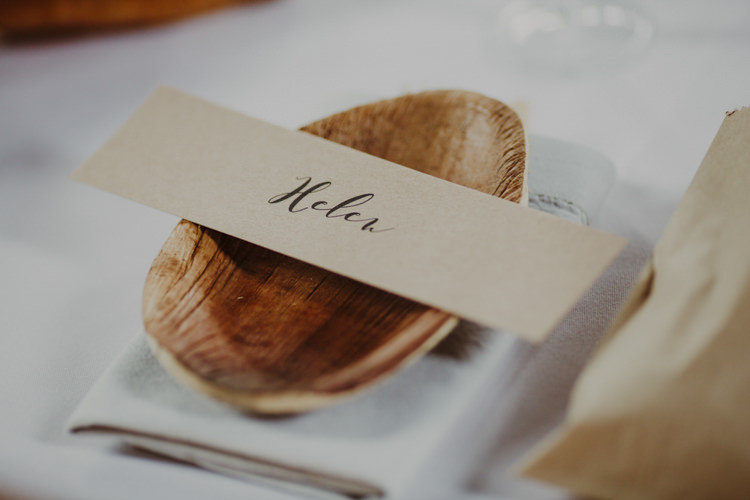 Calligraphy Card Brown Kraft Paper Place Names Setting Wooden Bowl Romantic Stylish Relaxed Sea Wedding http://www.oxiphotography.co.uk/