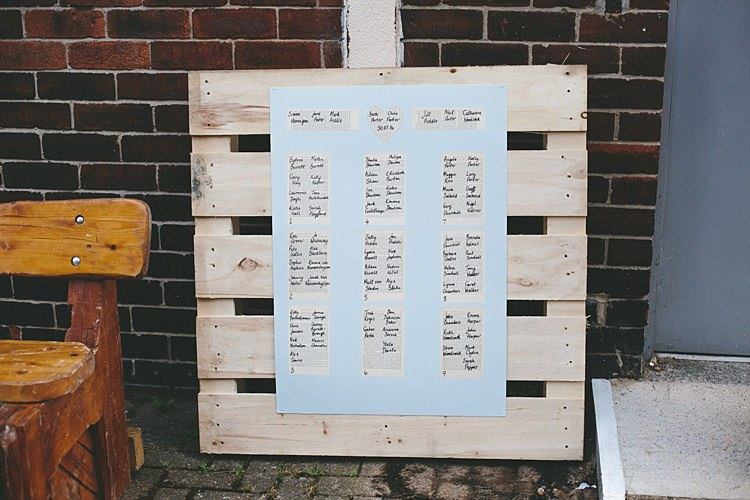 Pallet Seating Plan Table Chart Home Made Vintage Pale Blue Wedding http://www.elliegracephotography.co.uk/