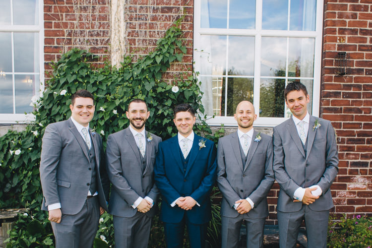 Blue Suit Groom Grey Groomsmen Home Made Vintage Pale Blue Wedding http://www.elliegracephotography.co.uk/