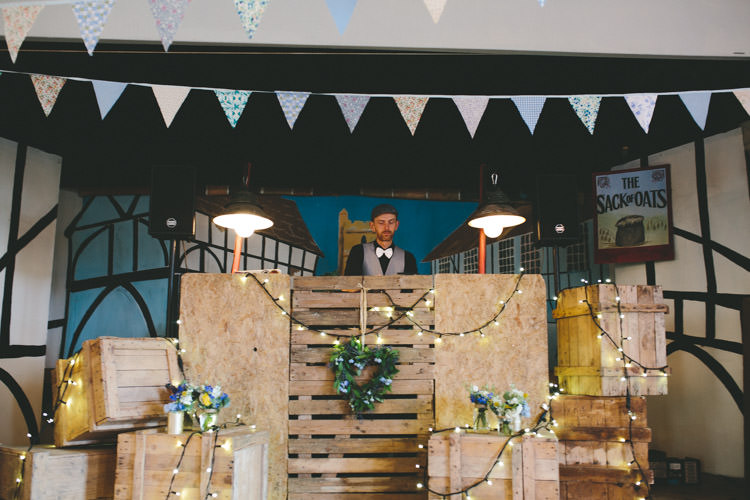 Rustic Wooden DJ Booth Home Made Vintage Pale Blue Wedding http://www.elliegracephotography.co.uk/