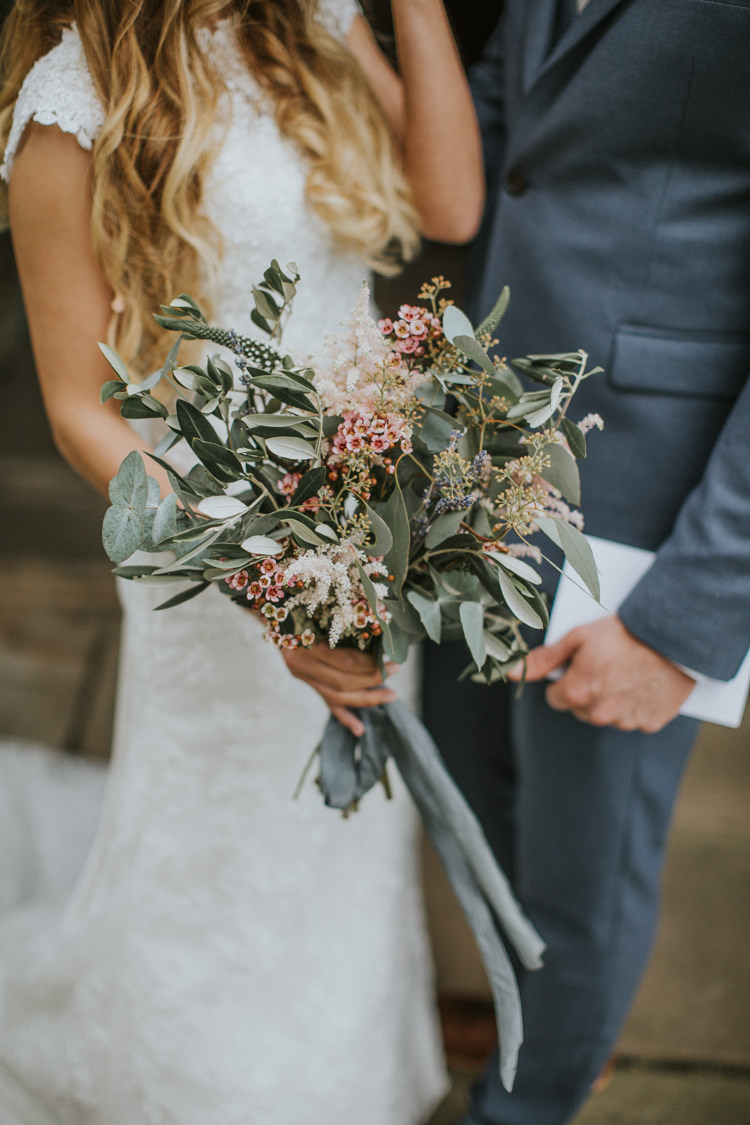 pink waxflower astilbe seeded eucalyptus olive flowers bouquet bride bridal Creative DIY Rustic Lavender Wedding http://www.nataliepluck.com/
