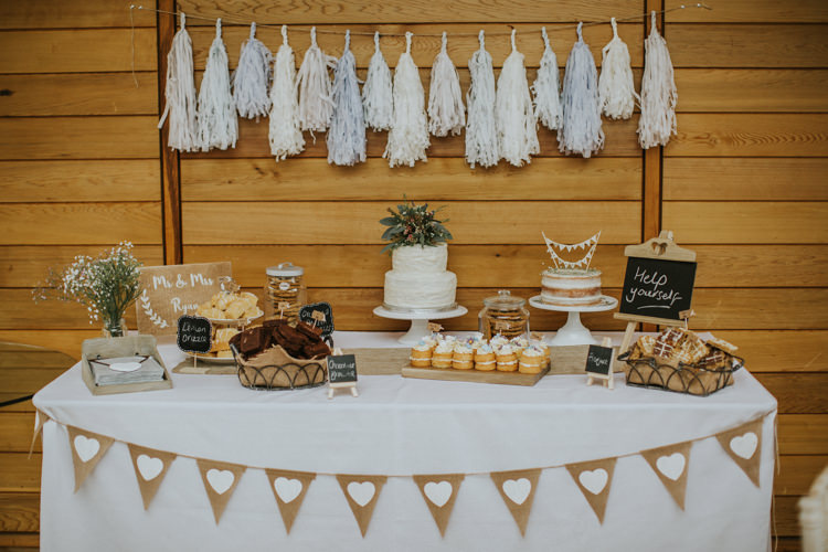 Cake Dessert Table Tassel Garland Creative DIY Rustic Lavender Wedding http://www.nataliepluck.com/