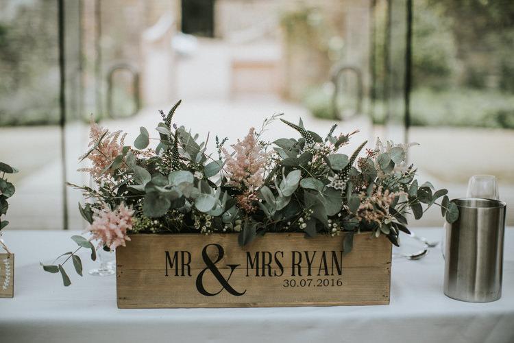 Bow Flowers Crate Astilbe Eucalyptus Creative DIY Rustic Lavender Wedding http://www.nataliepluck.com/