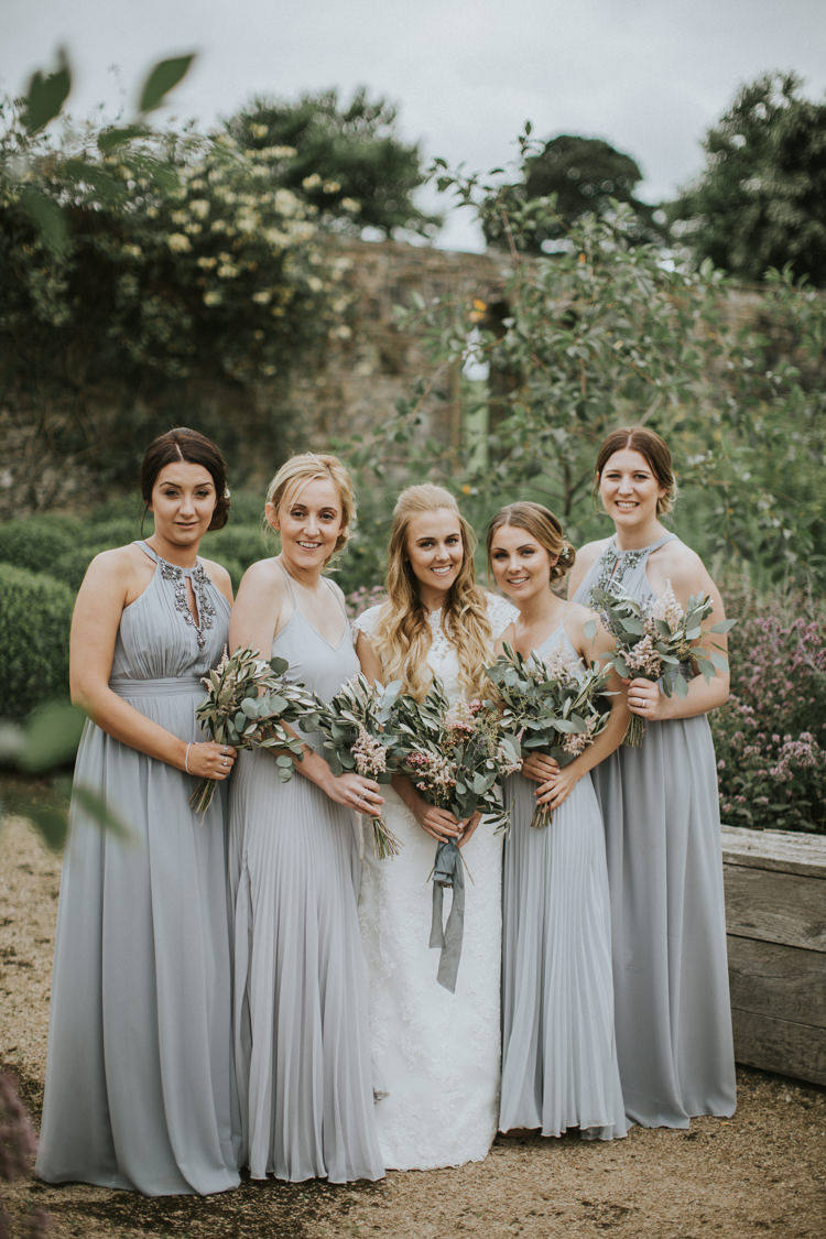 Long Grey Bridesmaid Dresses ASOS Flowers Bouquets Creative DIY Rustic Lavender Wedding http://www.nataliepluck.com/