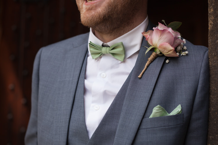 Bow Tie Groom Rose Buttonhole Pastel Marquee Garden Party Wedding https://www.deliciousphotography.co.uk/