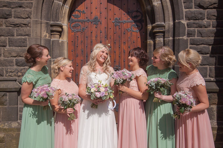 Pink Green Bridesmaid Dresses Pastel Marquee Garden Party Wedding https://www.deliciousphotography.co.uk/