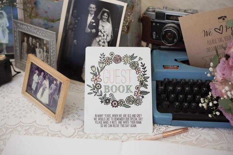 Typewriter Guest Book Pastel Marquee Garden Party Wedding https://www.deliciousphotography.co.uk/