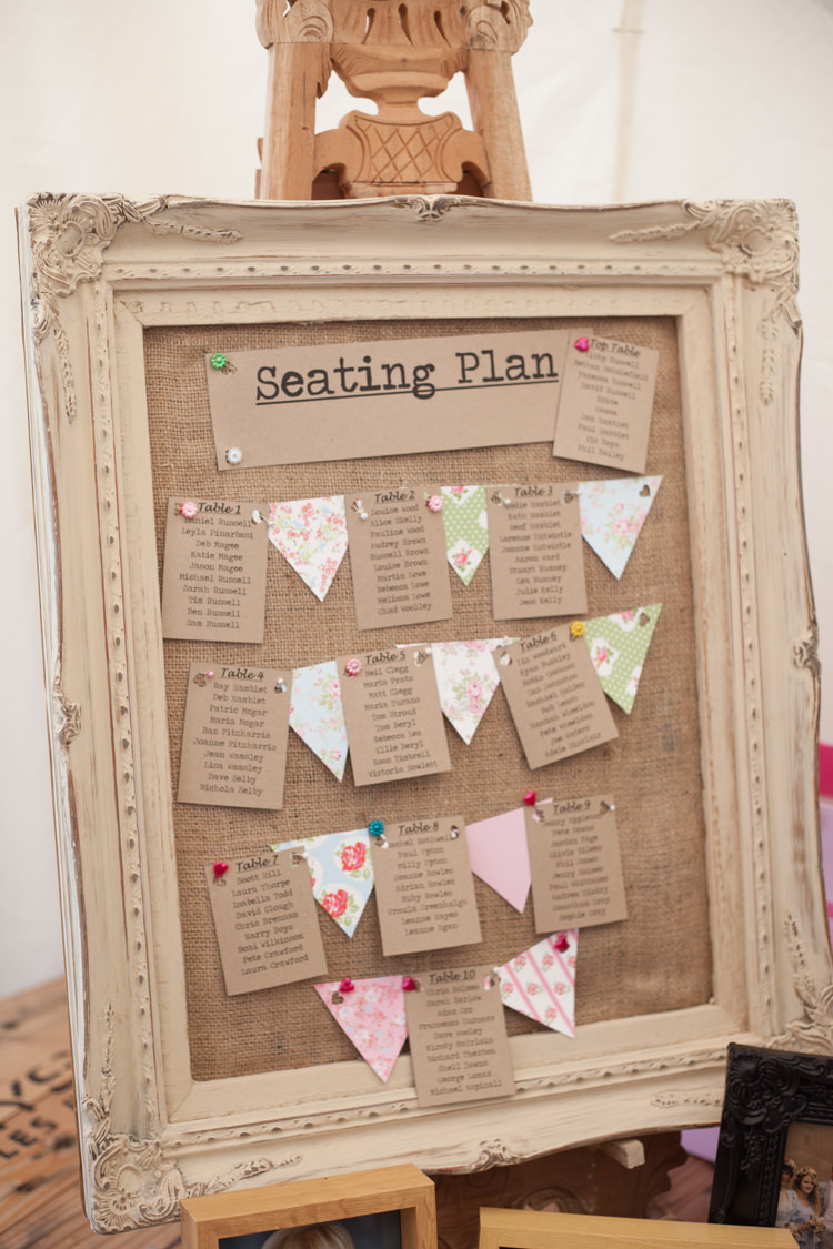 Frame Hessian Bunting Table Seting Plan Chart Pastel Marquee Garden Party Wedding https://www.deliciousphotography.co.uk/