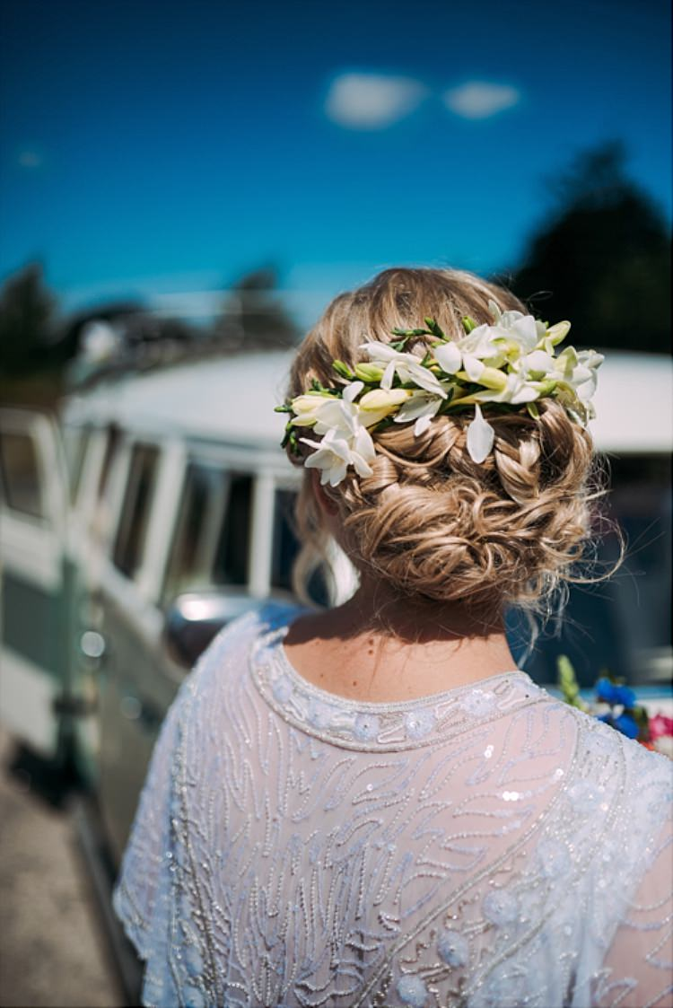 Hair Bride Bridal Flowers Up Do Style Colourful Cool Hand Made Wedding http://www.jonnybarratt.com/